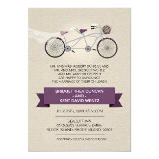Faux Linen Plum Tandem Bicycle Wedding Card