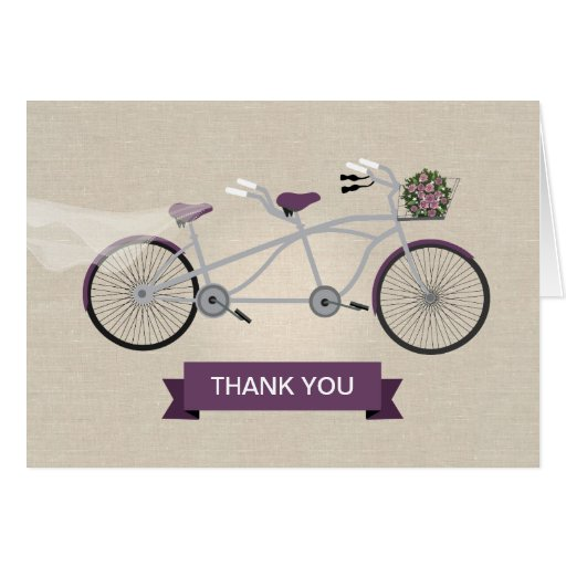 Faux Linen Plum Tandem Bicycle Wedding Greeting Card