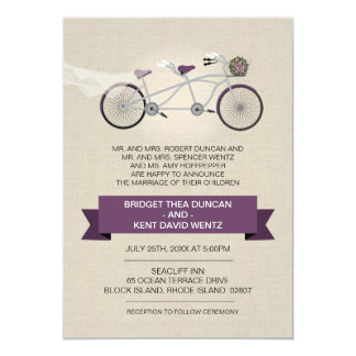 Faux Linen Plum Tandem Bicycle Wedding 5x7 Paper Invitation Card