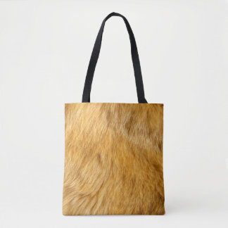 Faux lion fur all over print tote bag