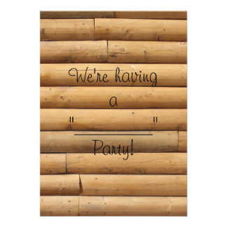 Faux Log Cabin Siding Background Personalized Invite
