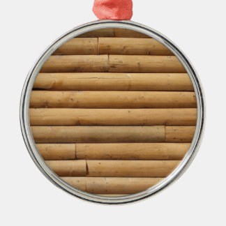 Faux Log Cabin Siding Background Christmas Tree Ornament