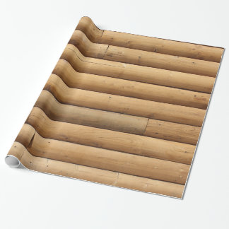 Faux Log Cabin Siding Wrapping Paper