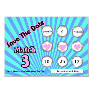 """Faux Lotto Scratch Off Save the Date Announcement 5"""" X 7"""" Invitation Card"""