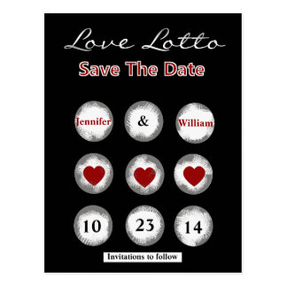 Faux Love Lotto Save the Date Post Card