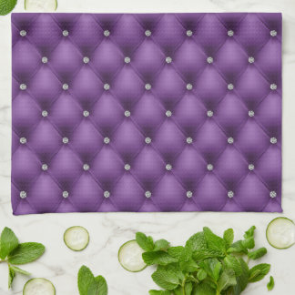 FAUX luxurious leather purple diamante towel