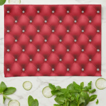 FAUX luxurious leather red diamante kitchen towel