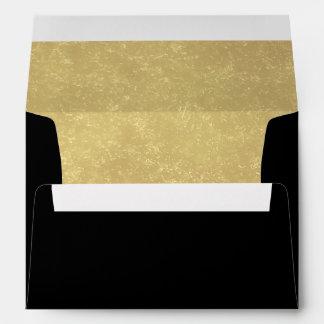 Faux Luxury Gold Black wedding Envelope