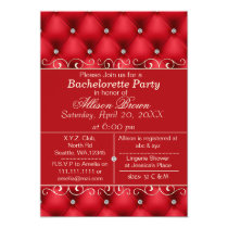 FAUX luxury leather, red bachelorette party invite