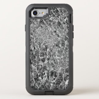 Faux Marble Abstract Water Black and White Photo OtterBox Defender iPhone 8/7 Case
