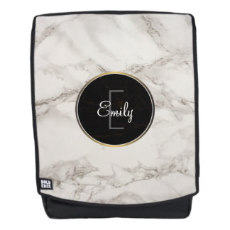 Faux Marble Alabaster Taupe Tan Monongram Backpack