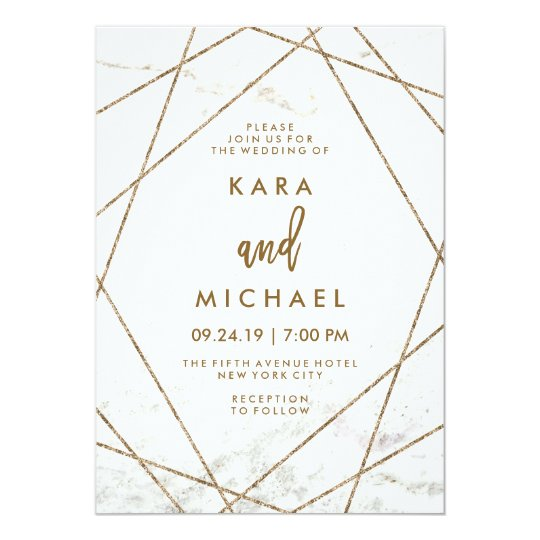 Faux Marble And Copper Geometric Wedding Invite Zazzle Com