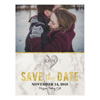 Faux Marble and Gold Elegant Save the Date Postcard