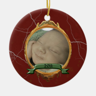 Faux Marble Baby's First Christmas Ornament