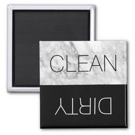Faux Marble & Black Clean Dirty Dishwasher Magnet