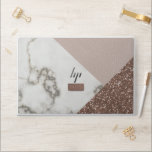 "Faux Marble Blush Rose Gold Glitter HP Laptop Skin<br><div class=""desc"">There's a Marble Blush Rose Gold Glitter party on this laptop skin and you're invited to add your initials to it. All fabulously faux! Laptop dimensions: HP EliteBook 850 G5/G6,  755 G5/G6  14.6 x 9.91 x 0.73 in (37.0 x 25.17 x 1.85 cm)</div>"