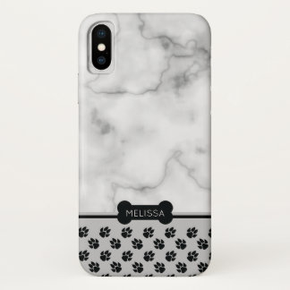 Faux Marble & Dog Theme - Choose Own Accent Color iPhone X Case