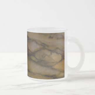 Faux marble look frosted glass coffee mug
