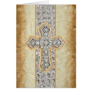 Faux Marble & Rhinestone Cross Blank Greeting Card