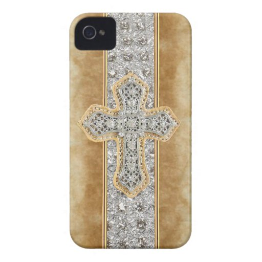 Faux Marble & Rhinestone Cross IPHONE 4 CASE