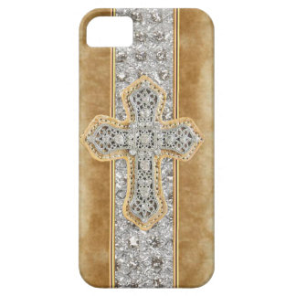 Faux Marble & Rhinestone Cross IPHONE 5 CASE
