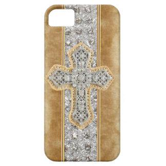 Faux Marble & Rhinestone Cross IPHONE 5 CASE