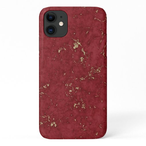 Faux marble-ruble-red gold accents iPhone 11 case