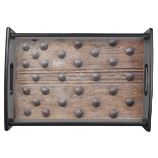 Faux Medieval Studded Wooden Castle Door Serving Tray