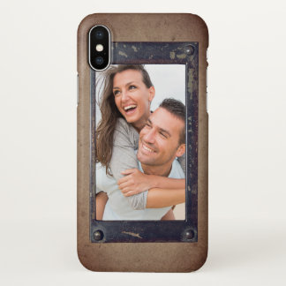 Faux Metal on Wood Effect | Cool Rustic Photo iPhone X Case