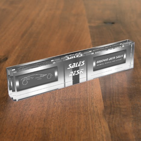 Faux metal, silver auto - Auto Sales Showroom Desk Name Plate