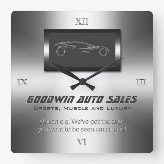 Faux metal, silver auto - Auto Sales Showroom Square Wall Clock