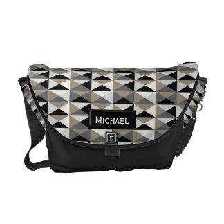 Faux Metallic Diamond Pattern Messenger Bag