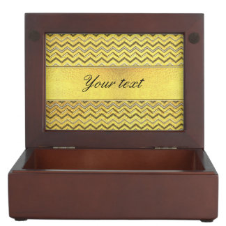 Faux Metallic Glitter Chevrons Gold Foil Memory Box