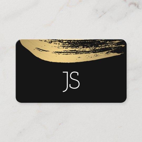 Faux metallic gold brushed monogram business card zazzle faux metallic gold brushed monogram business card reheart Choice Image
