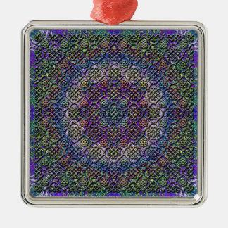faux metallic pattern square metal christmas ornament