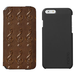 Faux Metallic Treble Clef & Leather Music theme iPhone 6/6s Wallet Case