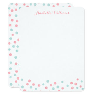 Faux Mint and Pink Glitter Confetti Notecards
