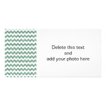Faux Mint Glitter Chevron Pattern White Solid Card