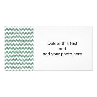Faux Mint Glitter Chevron Pattern White Solid Card