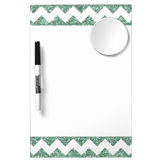 Faux Mint Glitter Chevron Pattern White Solid Dry Erase Board With Mirror
