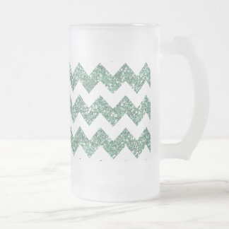 Faux Mint Glitter Chevron Pattern White Solid Frosted Glass Beer Mug