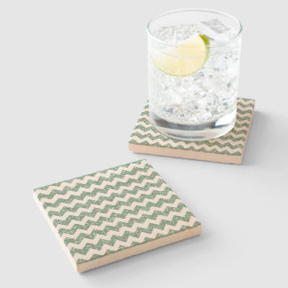 Faux Mint Glitter Chevron Pattern White Solid Stone Beverage Coaster