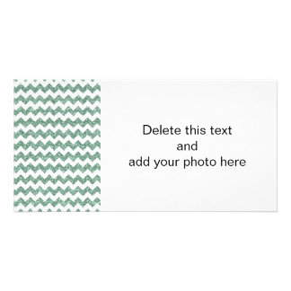 Faux Mint Glitter Chevron Pattern White Solid Photo Greeting Card