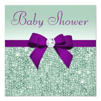 Faux Mint Sequins Purple Bow Baby Shower Card