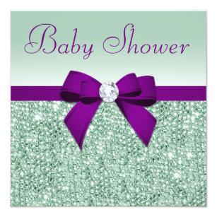 Faux Mint Sequins Purple Bow Baby Shower Invitation