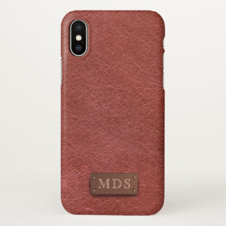 Faux Monogram Oxblood Leather Look iPhone X Case