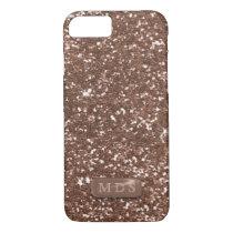 Faux Monogram Sparkle Rose Gold Glitter iPhone 8/7 Case