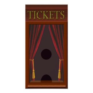 Faux Movie Theater Ticket Window Poster