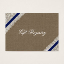 FAUX navy blue lace and burlap Gift registry Business Card