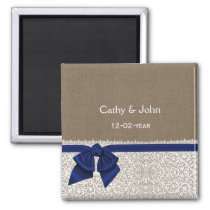FAUX navy blue lace and burlap save the date Magnet